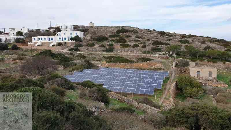Solar panels in private property at Vroutsi of Amorgos